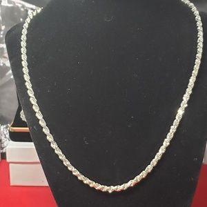 Vintage solid silver 3.5mm 20 inch Diamond cut rop